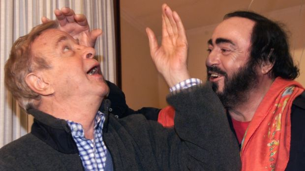 Italian tenor Luciano Pavarotti jokes with director Franco Zeffirelli in Rome in 2000. File photograph: Gabriel Bouys/AFP/Getty Images