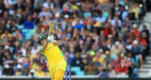 Australia's Aaron Finch hits a six during the  Cricket World Cup group  match against Sri Lanka  at The Oval in London. Photograph:  Adam Davy/PA Wire