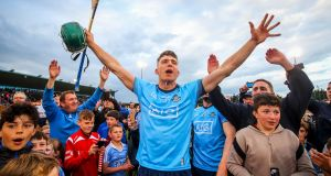 Dublin's Chris Crummy celebrates after the Leinster SHC round-robin game against Galway  at Parnell Park. Photograph: Ryan Byrne/Inpho