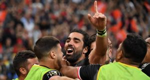 Toulouse's Yoann Huget  celebrates scoring a try with team-mates during the French Top 14 final against   Clermont Auvergne at the Stade de France in  Paris. Photograph:  Alain Jocard/AFP/Getty Images