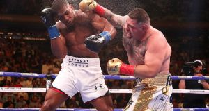 Andy Ruiz Jr (right) lands a punch on Anthony Joshua. Skill won out. Ruiz beat Joshua because he was better than him. Photograph: Nick Potts/PA