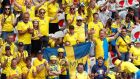 Sweden fans before the match  against Thailand in Nice, France, in the   women's World Cup. Photograph:   Reuters/Jean-Paul Pelissier
