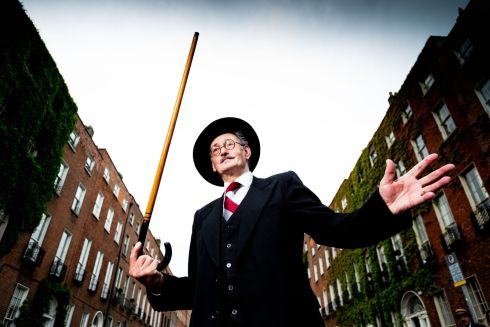 James Joyce lookalike John Shevlin strikes a suitable pose outside the James Joyce Centre, North Great George's Street, Dublin, for Bloomsday. Photograph: Tom Honan