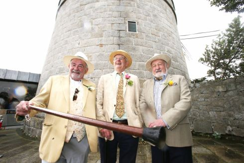 Three merry Joyceans out to play for Bloomsday 2019 at the James Joyce Tower, Sandycove, Dublin. Photograph: Stephen Collins/Collins Photos