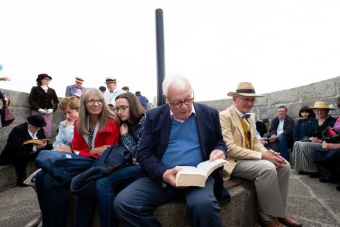Chris Patten, former governor of Hong Kong, and former chair of the Independent Commission on Policing for Northern Ireland, enjoying a reading of Ulysses at the Martello Tower. Photograph: Tom Honan