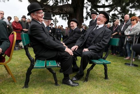 Members of the Joycean Stagers at the annual Bloomsday event at Glasnevin Cemetery, Dublin, during a re-enactment from the Hades chapter of Ulysses. Photograph: Brian Lawless/PA Wire