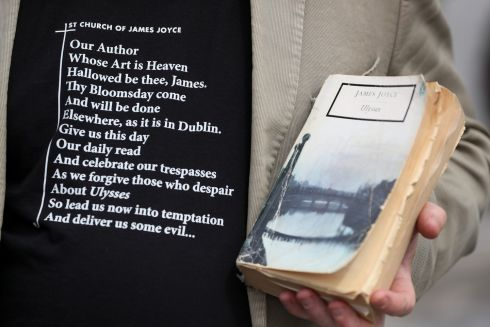 A well-thumbed copy of Ulysses holds pride of place at the Bloomsday event at Glasnevin Cemetery, Dublin. Photograph: Brian Lawless/PA Wire