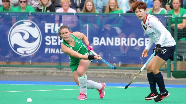 Ireland's Lizzie Colvin in action during the FIH Women's Series Final against Korea at Banbridge Hockey Club. Photograph: Jonathan Porter/Inpho/PressEye