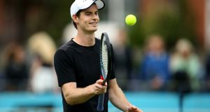 Andy Murray during a practice session  ahead of the Fever-Tree Championship at the Queen's Club in London. Photograph:  Steven Paston/PA Wire
