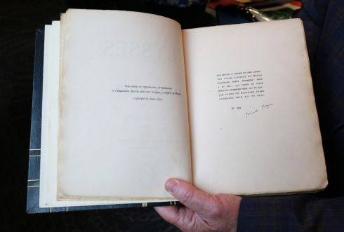 THE REAL THING: A copy of Ulysses signed by author James Joyce, which is to be auctioned straight after Bloomsday at the Talbot Hotel in Stillorgan, Dublin. Photograph: Crispin Rodwell