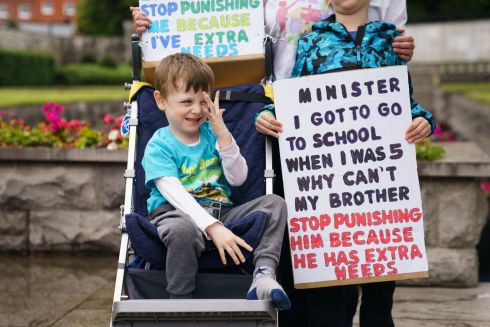 EXTRA NEEDS: Dylan McGovern (5), from Drimnagh, at a protest by parents seeking better educational opportunities for their children with special needs, organised by Enough is Enough - Every Voice Counts. Photograph: Fran Veale