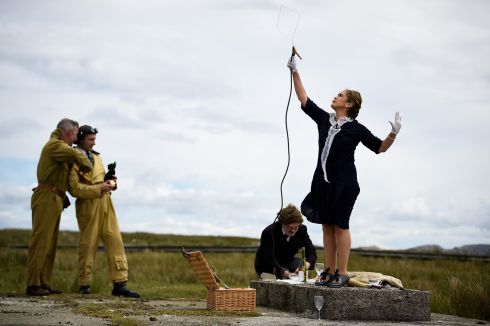 FLIGHT SIMULATION: Actors playing Guglielmo Marconi and his wife Annie Jameson attempt to find a radio signal during a recreation in Connemara welcoming the first non-stop transatlantic flight by British aviators Sir John Alcock and Sir Arthur Whitten-Brown that began 100 years ago on June 14th, 1919. The flight departed from Newfoundland, Canada, and crash-landed on June 15th, 1919 in the Connemara bog of Derrygimlagh. Photograph: Clodagh Kilcoyne/Reuters