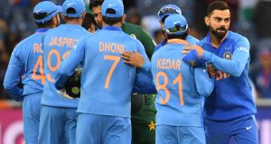 India's captain Virat Kohli celebrates with his teammates after victory in the 2019 Cricket World Cup group stage against Pakistan at Old Trafford in Manchester. Photograph: Getty Images