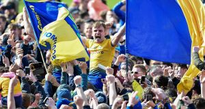 Roscommon's Enda Smith celebrates with supporters after the Connacht final victory over Galway at Pearse Stadium. Photograph: Tommy Grealy/Inpho