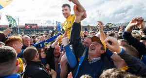Roscommon's Cathal Cregg celebrates winning his third Connacht title. Photograph: Tommy Dickson/Inpho