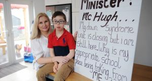 Sharon Saunders, from  Tallaght, Co Dublin, pictured with her son Scott  (9). Photograph: Aidan Crawley/The Irish Times