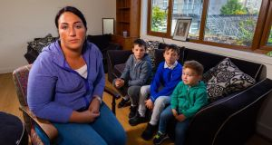 Michelle O'Brien pictured with her children Tommy, Jamie and Joey at her emergency accommodation in Banagher, Co Offaly. Photograph: Tom O'Hanlon