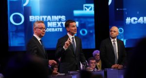 From left:  Michael Gove, Jeremy Hunt and Sajid Javid during the live television debate on Channel 4 for the candidates for leadership of the Conservative party. Photograph: PA