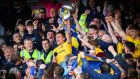 Roscommon's Enda Smith lifts the Nester Cup. Photograph: Tommy Dickson/Inpho