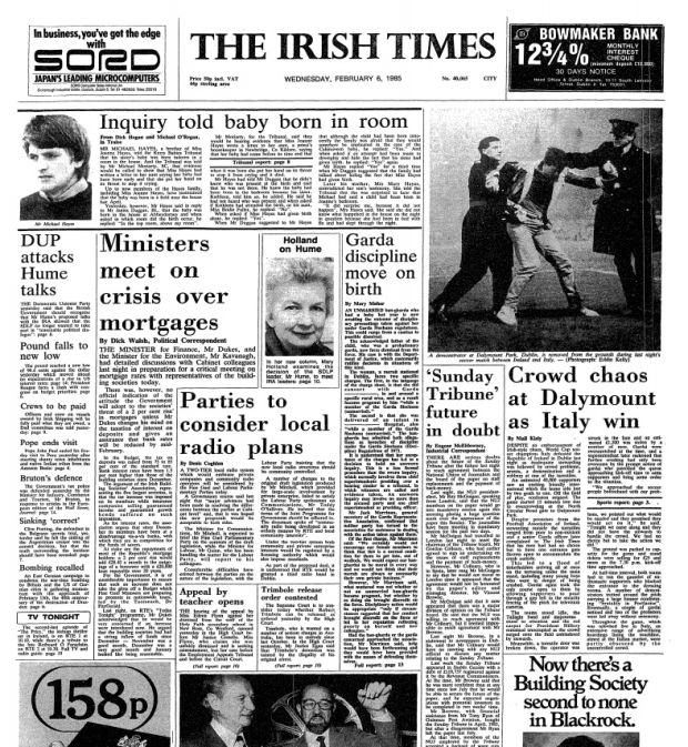 """Garda discipline move on birth""(fifth column): The Irish Times, February 6th, 1985, p1"