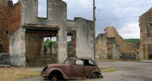 Between 160 to 200 soldiers of the Waffen SS entered the quiet village of Oradour-sur-Glane 75 years ago this month  The women and children were rounded up and locked into the church while the men were machine-gunned down. The church was set alight.