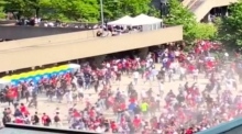 Eyewitness footage captures fans fleeing Toronto Raptors' rally