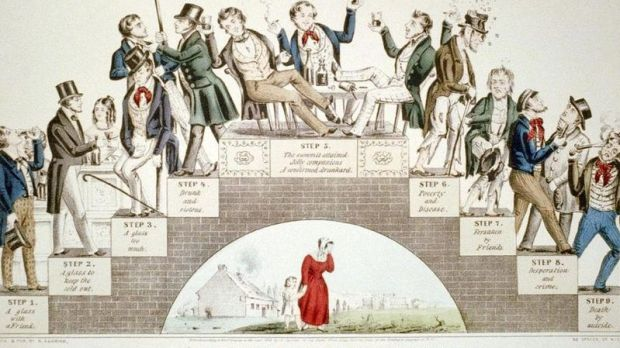 The Drunkard's Progress in 1846. A typical temperance illustration produced in the 19th century.