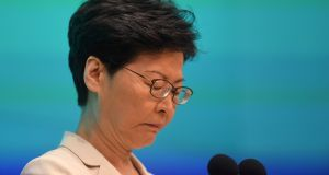Hong Kong chief executive Carrie Lam during a press conference at government headquarters in Hong Kong on Tuesday. Photograph:  Anthony Wallace/AFP/Getty Images