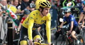 Geraint Thomas has been taken to hospital after a crash in the Tour de Suisse. Photograph: Aaron Chown/AFP/Getty
