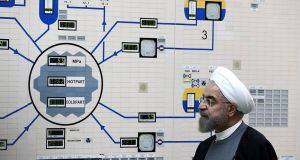 A handout photo provided by the Iranian president's office shows President Hassan Rouhani of Iran visiting the Bushehr nuclear power plant just outside of Bushehr, Iran, in January 2015. Photograph: Mohammad Berno/Iranian president's office, via The New York Times