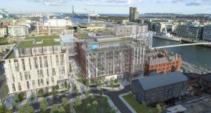 Impression of Salesforce Tower – to the immediate left of the Central Bank's docklands headquarters: Ronan Group Real Estate, which saw its application for extra storeys on the Salesforce Tower rejected last month, criticised the new plans.