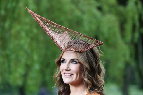 STANDING OUT: Broadcaster Lorraine Keane, wearing a specially commissioned headpiece by Irish milliner Michelle Kearns, officially launches the Dubai Duty Free Irish Derby Festival taking place at the Curragh Racecourse. Photograph: Leon Farrell/Photocall Ireland
