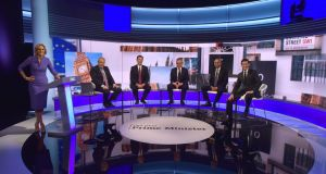 BBC handout photo of (left to right)  host Emily Maitlis, Boris Johnson, Jeremy Hunt, Michael Gove, Sajid Javid and Rory Stewart ahead of te BBC TV debate at BBC Broadcasting House in London.  Photograph: Jeff Overs/BBC/PA Wire