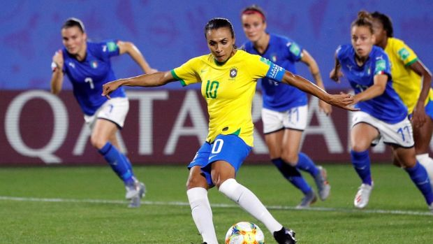 Marta's winner against Italy proved in vain as Brazil exited the World Cup at the group stages. Photograph: Phil Noble/Reuters