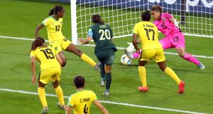 Sam Kerr scored all four as Australia routed Jamaica. Photograph: Denis Balbouse/Reuters