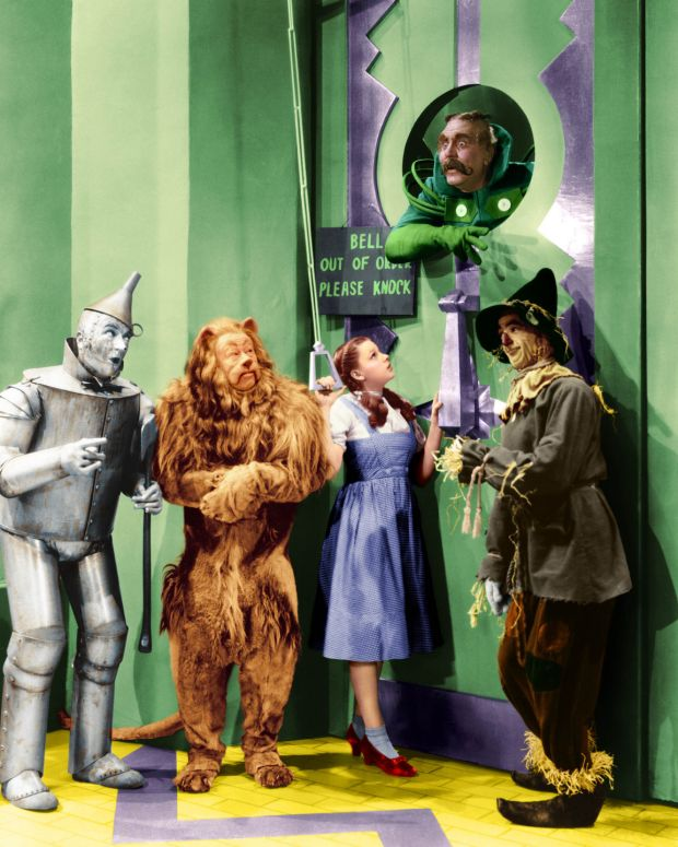 The Wizard of Oz: the Tin Man, the Cowardly Lion, Dorothy and the Scarecrow arrive at the Emerald City. Photograph: Silver Screen/Getty