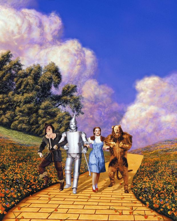 The Wizard Of Oz: Ray Bolger, Jack Haley, Judy Garland and Bert Lahr on the yellow brick road. Photograph: Silver Screen/Getty