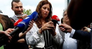 Silene Fredriksz, mother of one of the Malaysia Airlines flight MH17 victims, speaks to reporters, in Nieuwegein, Netherlands. Photograph: Eva Plevier/Reuters