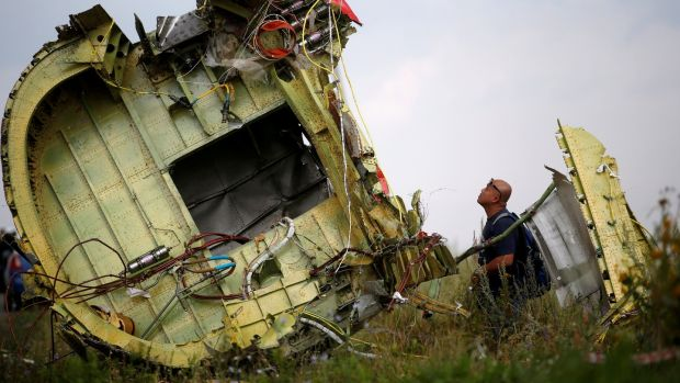 A Malaysian air crash investigator inspects the crash site of Malaysia Airlines Flight MH17, near the village of Hrabove (Grabovo) in Donetsk region, Ukraine. Photograph: Maxim Zmeyev/File Photo/Reuters