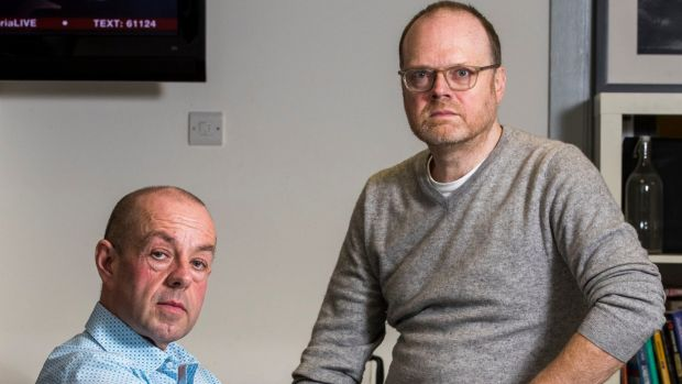 Investigative journalists Trevor Birney (right) and Barry McCaffrey: they were arrested in 2018 over the alleged theft of confidential documents relating to the massacre. Photograph: Liam McBurney/PA Wire