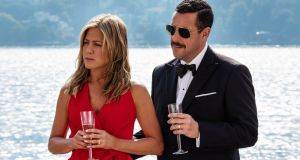 Jennifer Aniston and Adam Sanders pictured in the new Netflix film Murder Mystery