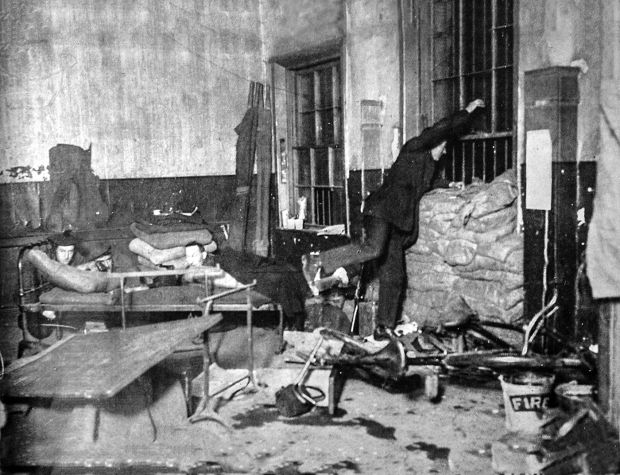 The Graphic publised this staged photograph, purportedly showing the attempted escape from the Dublin Castle guardroon of Dick McKee, Peadar Clancy and Conor Clune