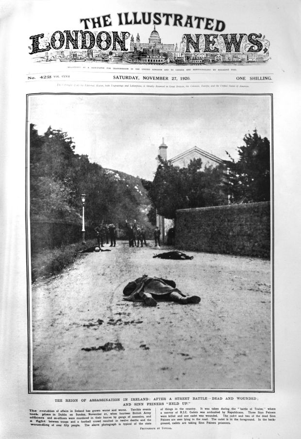 "The cover of the Illustrated London News showing the Tralee ""battle"" in November 1920. TheDublin Castle press officers had staged the event, using auxiliaries, some dressed as civilians, at Vico Road, Killiney, Co Dublin. Pathé also filmed the fictional encounter"