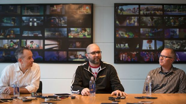 Toy Story 4 director Josh Cooley, centre, with producers Jonas Rivera and Mark Nielsen. Photograph: Pixar Studios
