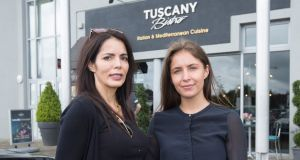 Sabrina Amodeo, owner of the Tuscany Bistro Italian restaurant chain, with her daughter Maxine.  Photograph Liam Burke/Press 22