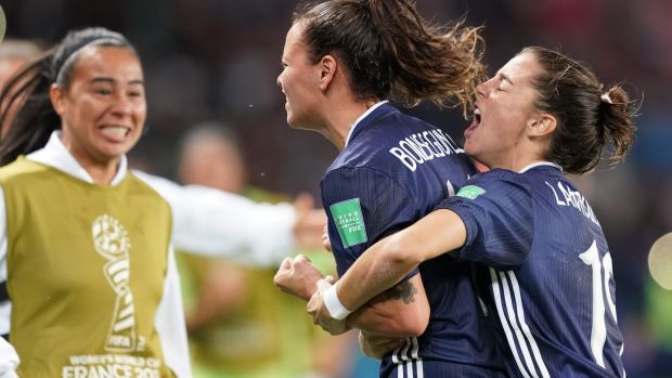 Argentina's forward Florencia Bonsegundo (C) celebrates after scoring her side's equaliser against Scotland. Photograph: Lionel Bonaventure/AFP/Getty