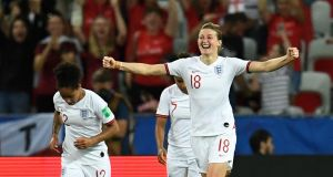 Ellen White celebrates her second goal in England's 2-0 win over Japan. Photograph: Christophe Simone/AFP/Getty