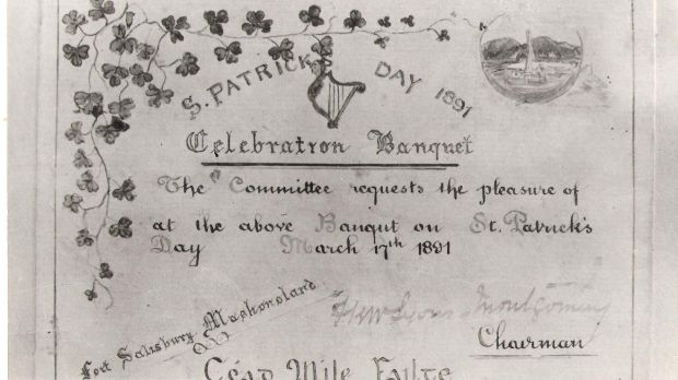 St Patrick's Day 1891 invite.