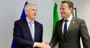 European Union's chief Brexit negotiator Michel Barnier and Taoiseach Leo Varadkar shake hands prior to the European Union leaders summit in Brussels. Photograph: Olivier Matthys/Reuters