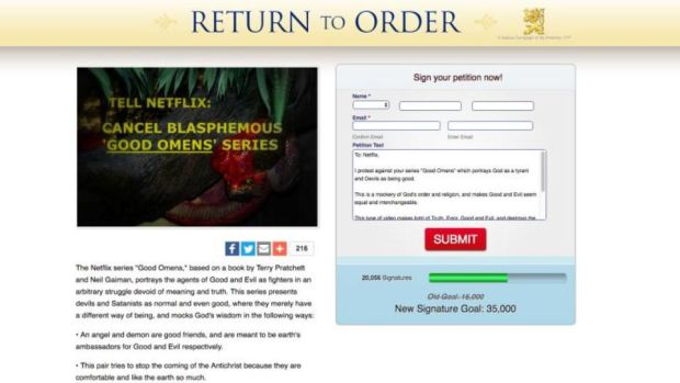 'Truth, Error, Good and Evil': Return to Order's Good Omens petition. Photograph: www.returntoorder.org